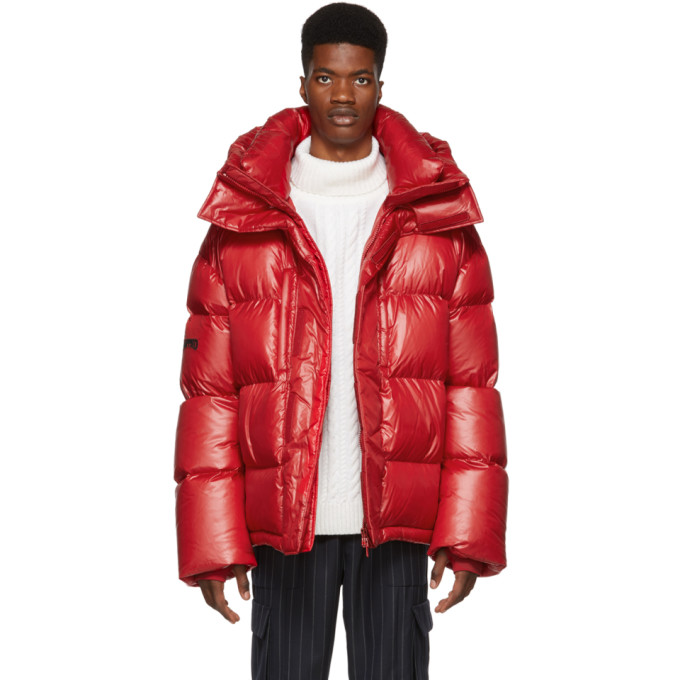 JUUN.J Hood Padded Jacket in Red