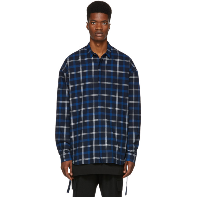 JUUN.J Juun.J Loose Fit Plaid Print Shirt - Blue
