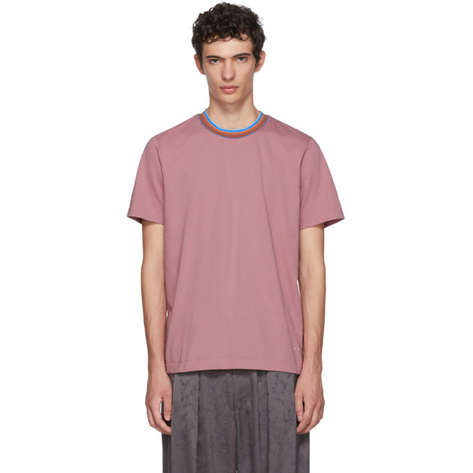 MARNI Marni Striped Collar T-Shirt - Pink & Purple, 00C66 Pink