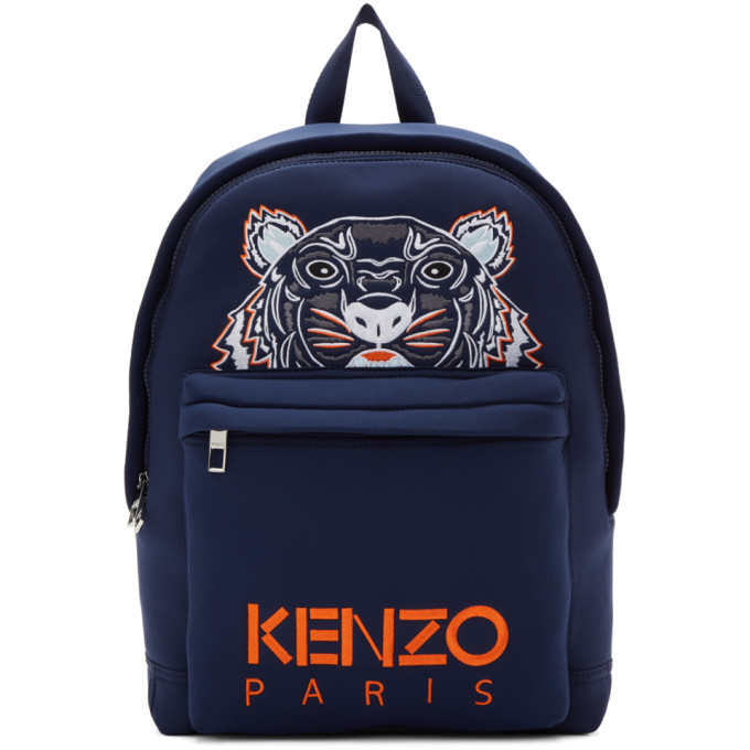 e50ef1ecf75 Kenzo Backpack In Neoprene Bluette Color With Embroidered Tiger ...