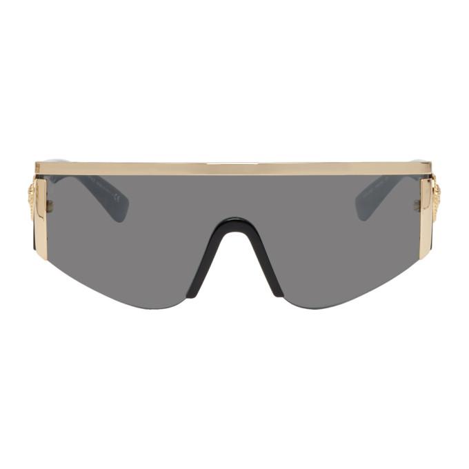 Tribute 147Mm Shield Sunglasses - Gold/ Silver Mirror in 10006G Gold