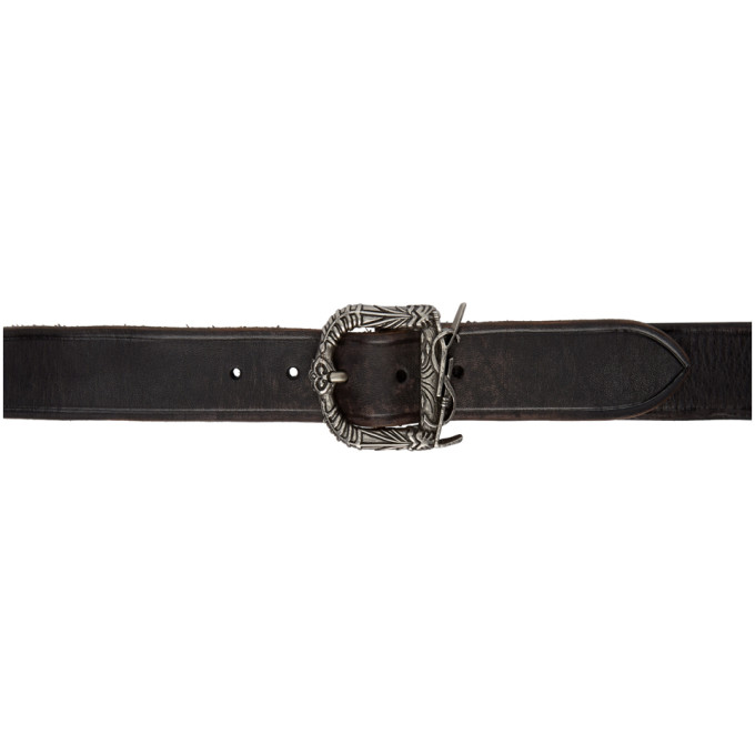 Monogram Ysl Celtic Leather Belt, Noir/ Gris