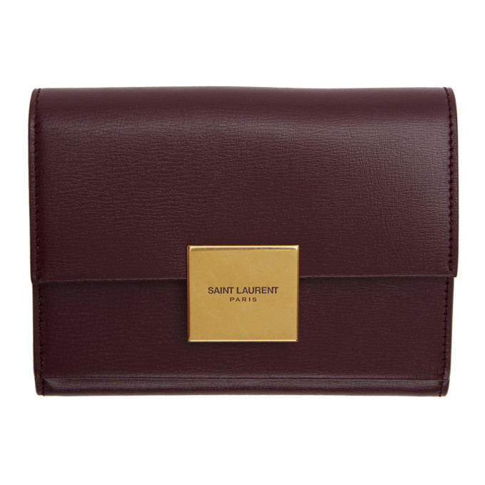 SAINT LAURENT RED SMALL BELLECHASSE ENVELOPE WALLET