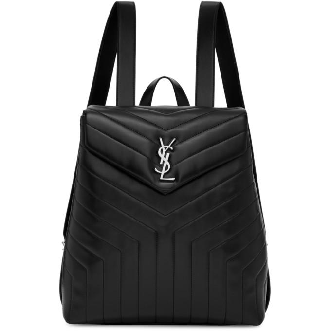 Saint Laurent Black Medium Loulou Backpack In 1000 Black ... 7d004b471fb48