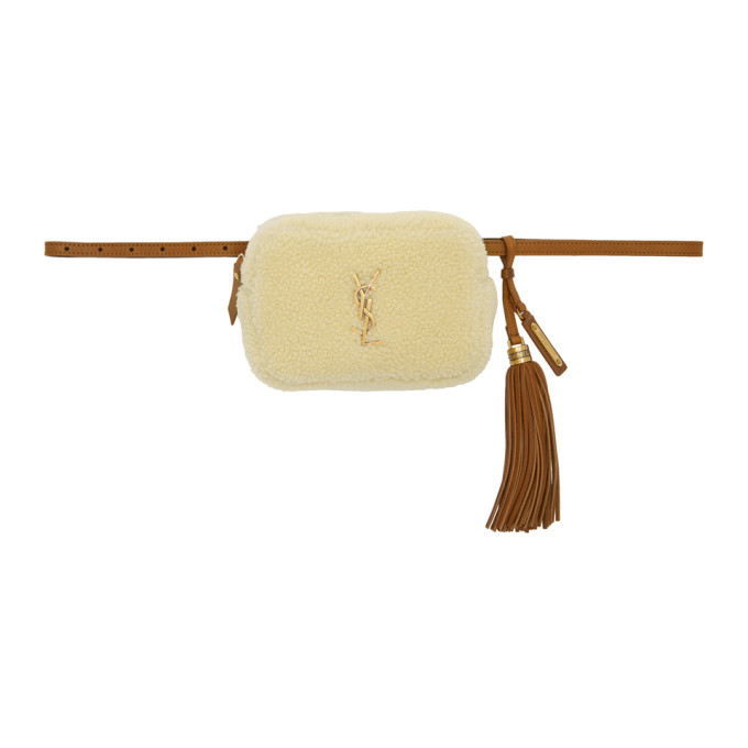 SAINT LAURENT White Shearling Lou Belt Bag