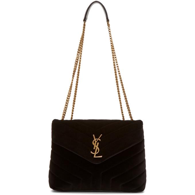 SAINT LAURENT Black Velvet Small Loulou Chain Bag