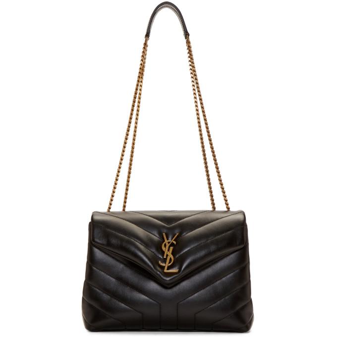 SAINT LAURENT Black Small Loulou Chain Bag