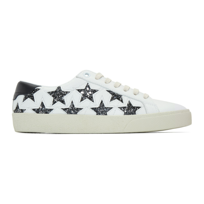 SAINT LAURENT WHITE GLITTER STARS COURT CLASSIC SNEAKERS