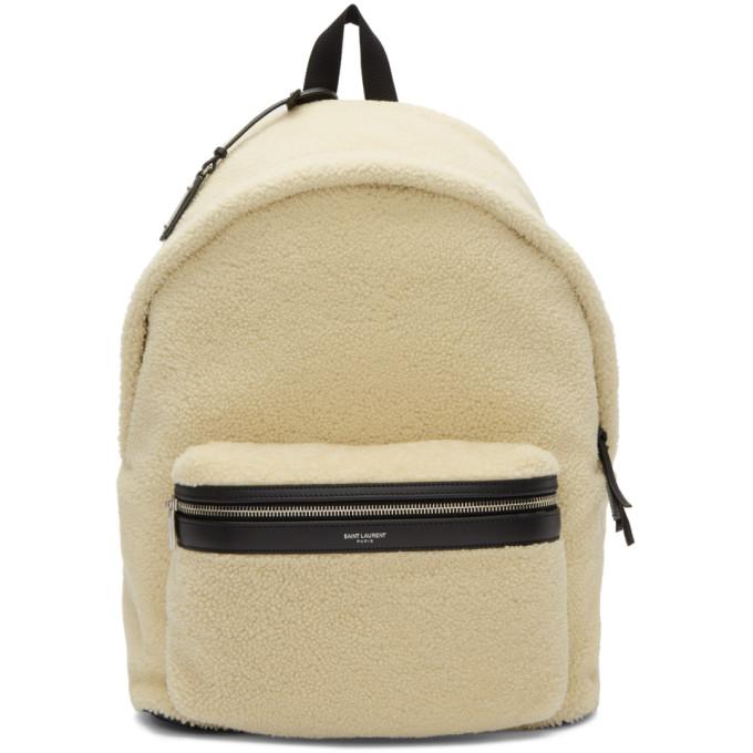 SAINT LAURENT Fleece Backpack in White