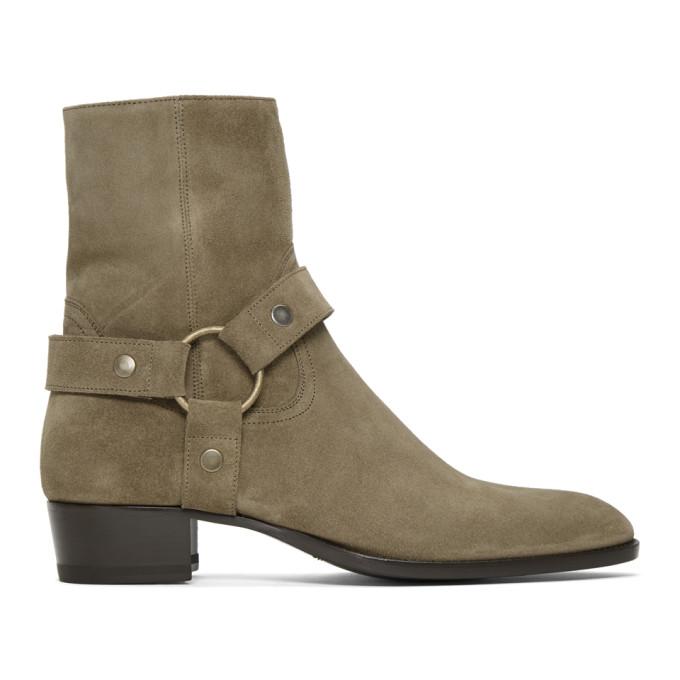 Beige Suede Wyatt Harness Boots by Saint Laurent