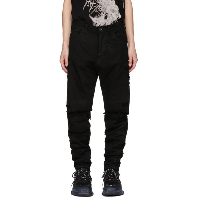 JULIUS Julius Distressed Straight Jeans - Black