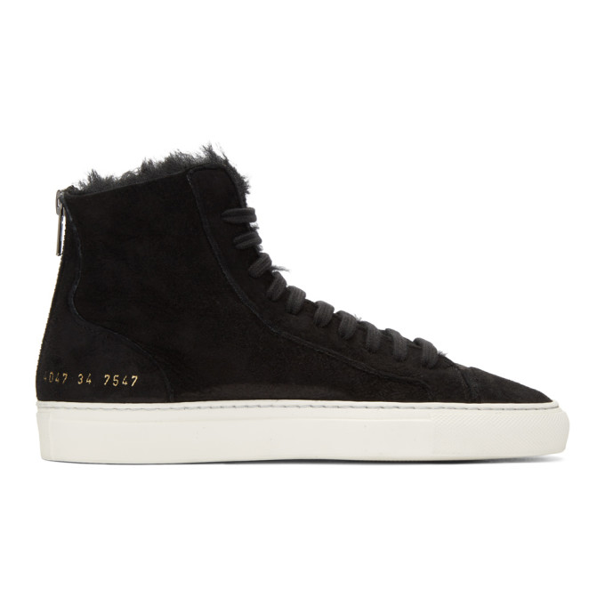 Common Projects WOMAN BY COMMON PROJECTS SSENSE EXCLUSIVE BLACK SHEARLING TOURNAMENT HIGH-TOP SNEAKERS