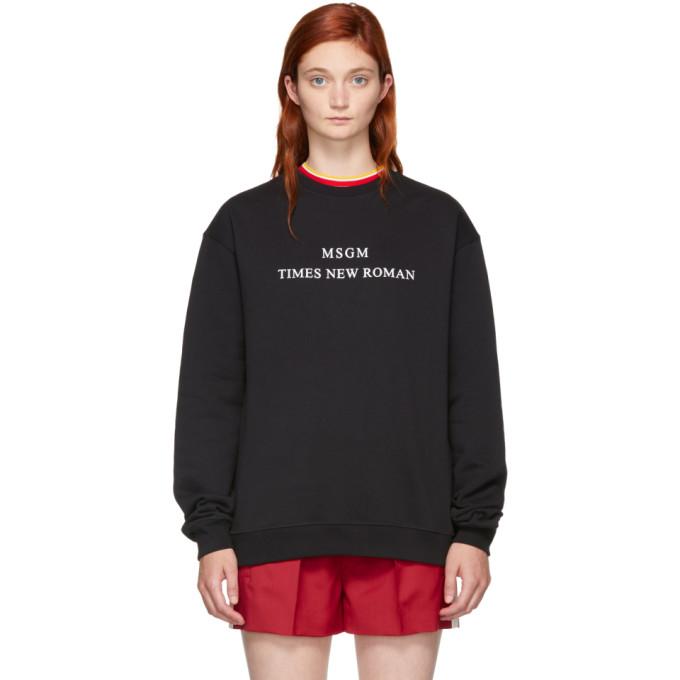 Msgm Black Times New Roman Sweatshirt in 99 Black