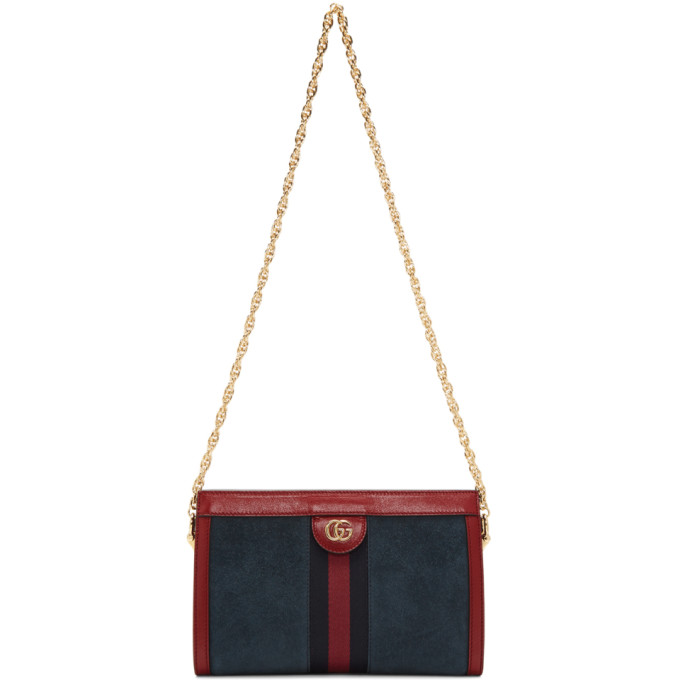 Gucci Red And Navy Ophidia Small Suede And Leather Shoulder Bag In Blue