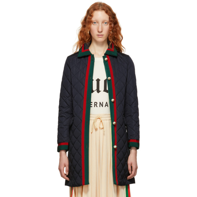 GUCCI BLACK QUILTED LONG DOWN COAT