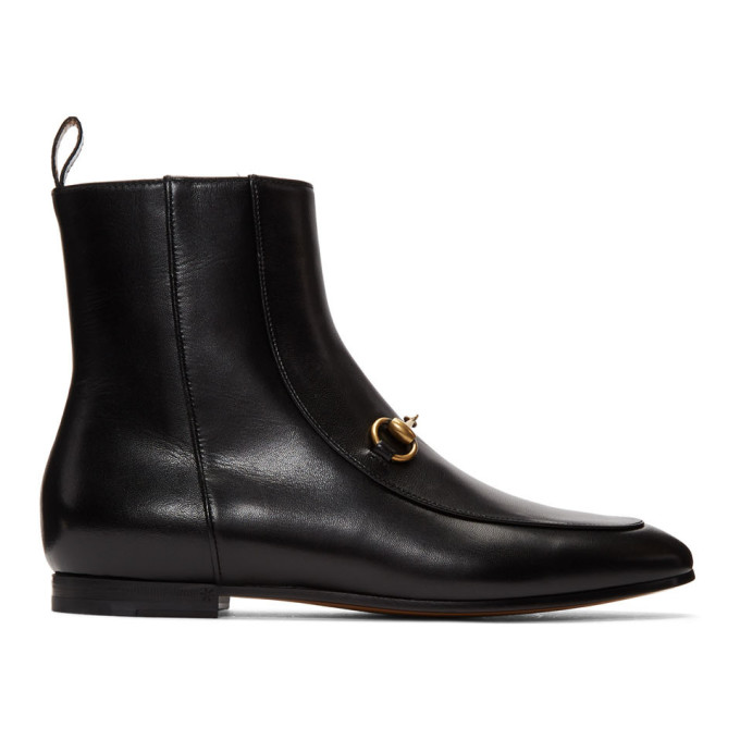 Gucci Jordaan Horsebit-Detailed Leather Ankle Boots In 1000 Black