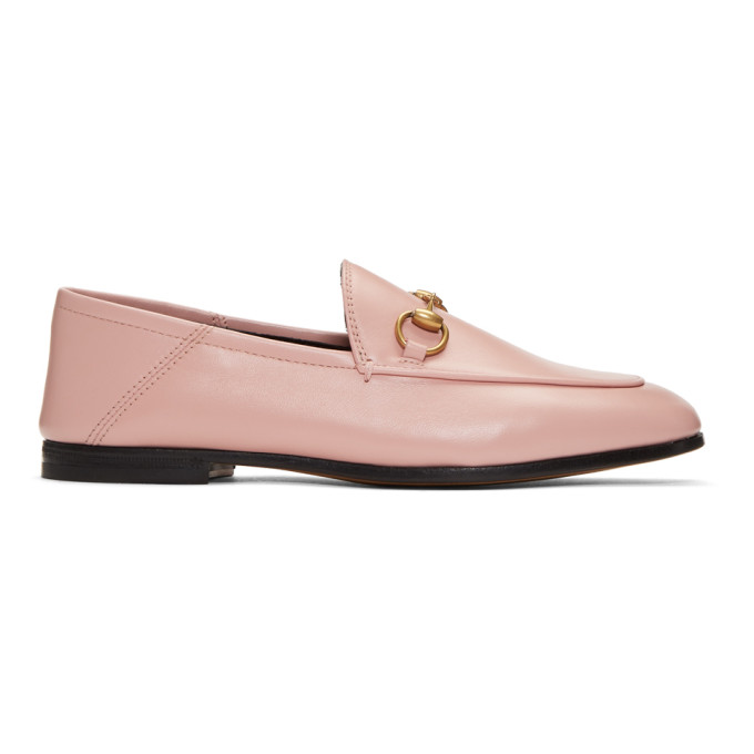 GUCCI PINK BRIXTON CRUSHBACK LOAFERS