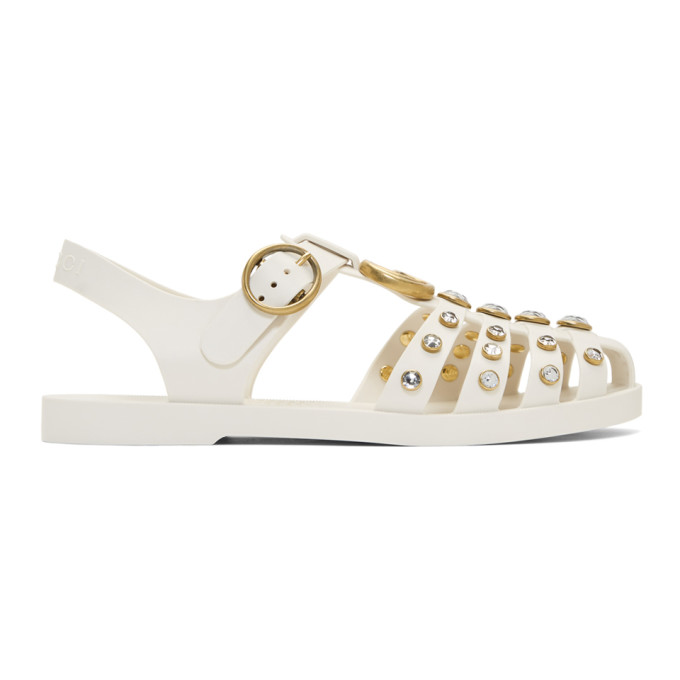 7032a8b09cc8 Gucci Rubber Sandal With Crystals In White