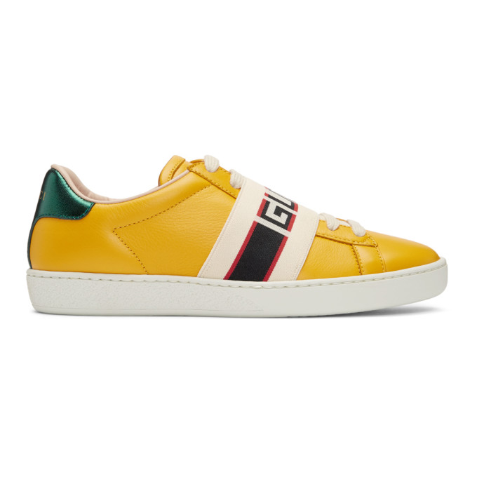 GUCCI YELLOW NEW ACE ELASTIC BAND SNEAKERS