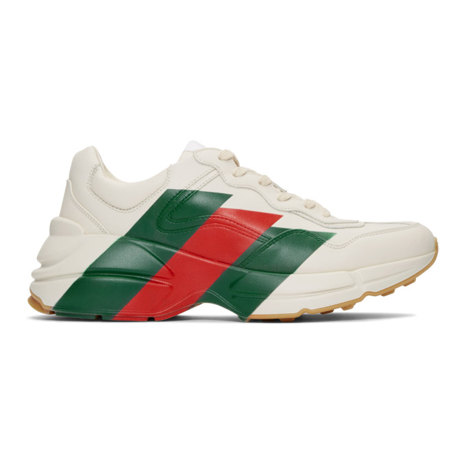 Gucci White Rhyton Web Print Leather Sneakers In 9022 M.Whit
