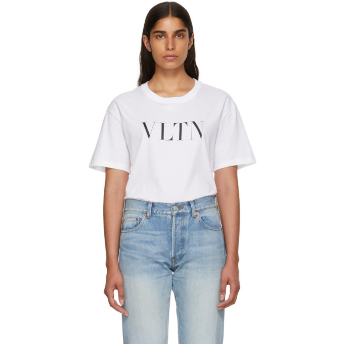 Valentino Short-Sleeve Vltn Logo Cotton Jersey T-Shirt In White