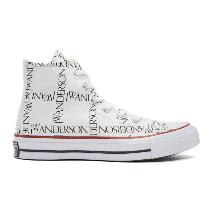 Jw Anderson White Converse Edition Grid Chuck Taylor All Star 70 High-Top Sneakers, Wht.Blk.Red