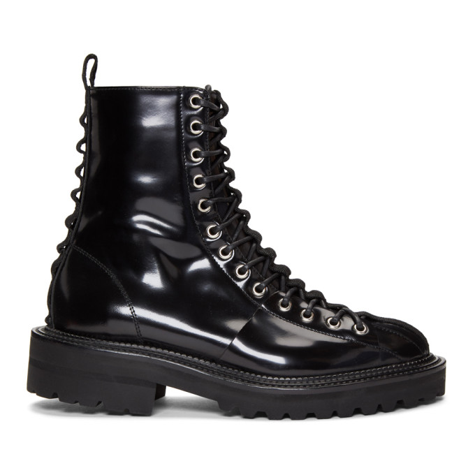 YANG LI Lace-Up Boots in Black