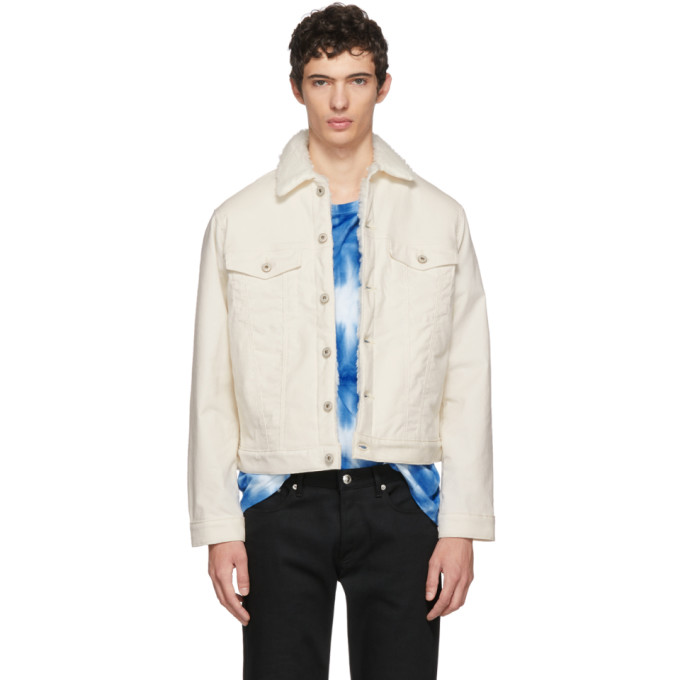 NAKED AND FAMOUS Naked And Famous Denim White Corduroy Sherpa Jacket in Ivory