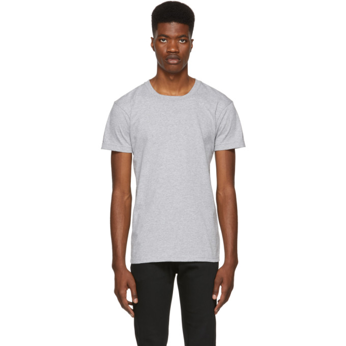NAKED AND FAMOUS DENIM GREY RINGSPUN COTTON T-SHIRT