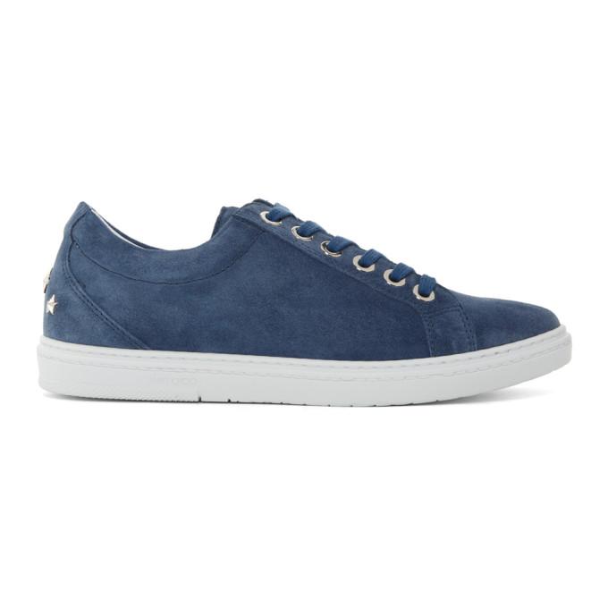 Jimmy Choo Blue Suede Cash Sneakers