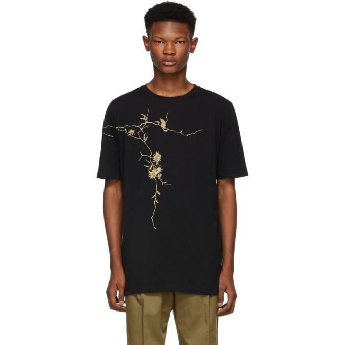 HAIDER ACKERMANN Oversized Metallic Floral-Print Cotton-Jersey T-Shirt - Black