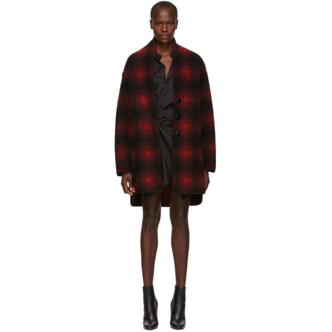 ISABEL MARANT ETOILE BLACK AND RED GABRIE WOOL COAT