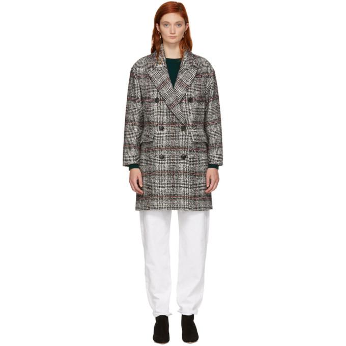 Isabel Marant Etoile Black And White Ebra Coat in Bkec Blk/Ec