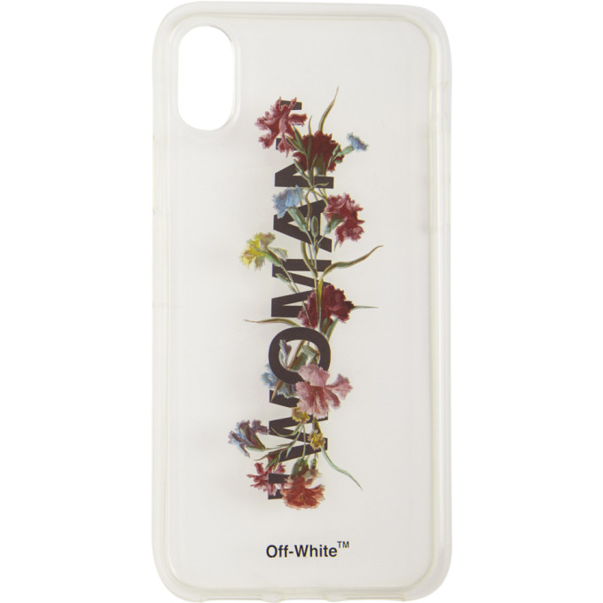 OFF-WHITE TRANSPARENT FLOWERS IPHONE X CASE