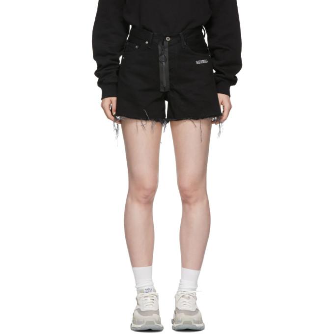 Off White Denim Short in Black