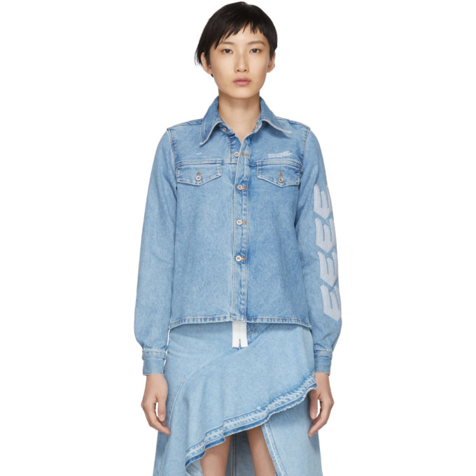 Button-Front Denim Shirt W/ Arrow Topstitching in Blue