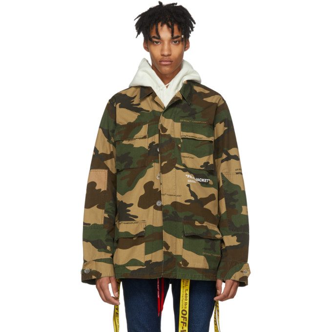 Oversized Canvas-Trimmed Camouflage-Print Cotton Field Jacket in Green