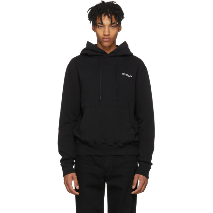 OFF-WHITE Logo-Embroidered Loopback Cotton-Jersey Hoodie in Black