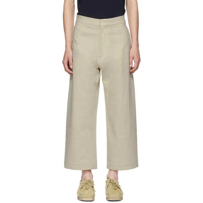 STUDIO NICHOLSON Studio Nicholson Beige Suedehead Trousers in Cream