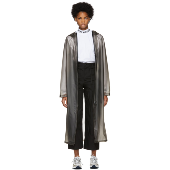 Grey Transparent Hooded Raincoat from SSENSE