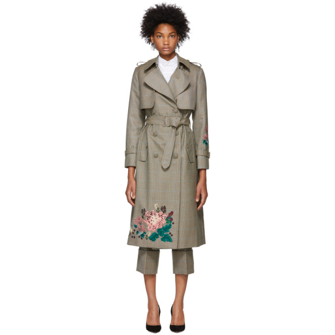 ERDEM Embroidered Trench Coat in Neutrals