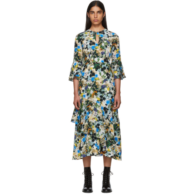Florence Floral Silk Midi-Dress - White, Blue Size 14 Uk in White/Blue