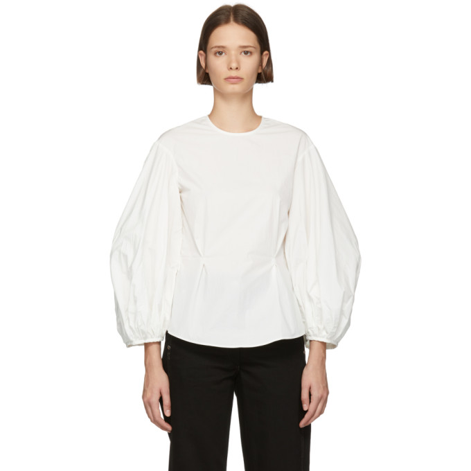 White Balloon Sleeve Blouse by Edit
