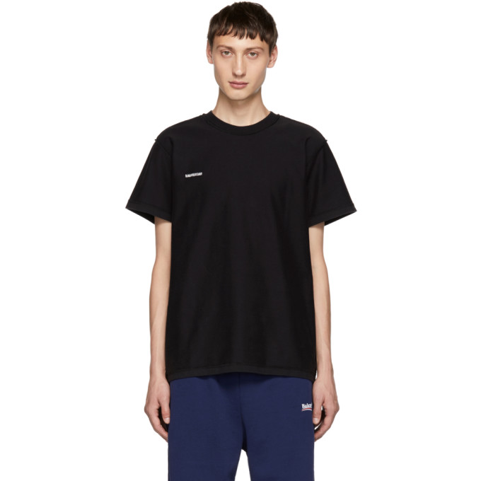 VETEMENTS Logo Cotton Oversized Inside-Out T-Shirt - Black Size L