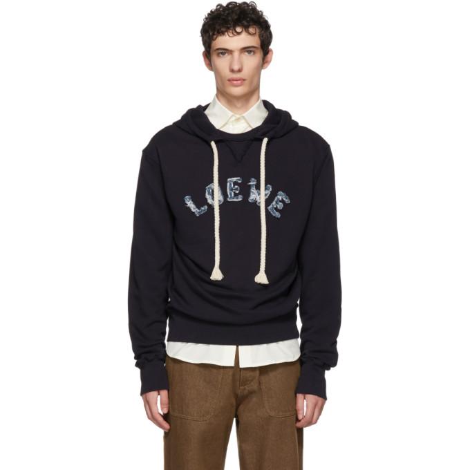 LOEWE Logo-Appliqué Cotton-Jersey Hooded Sweatshirt in Blue