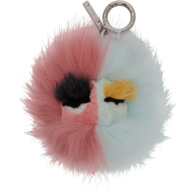 FENDI PINK AND BLUE FUR BAG BUGS KEYCHAIN