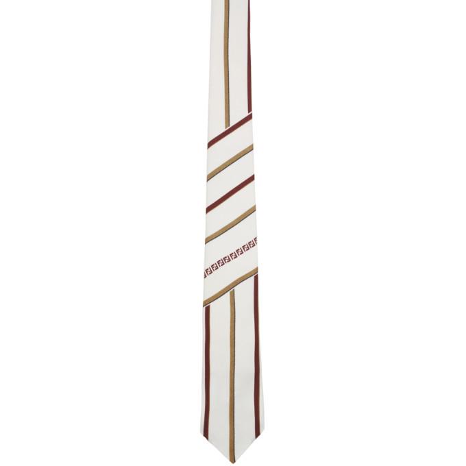 FENDI White FF Stripe Tie