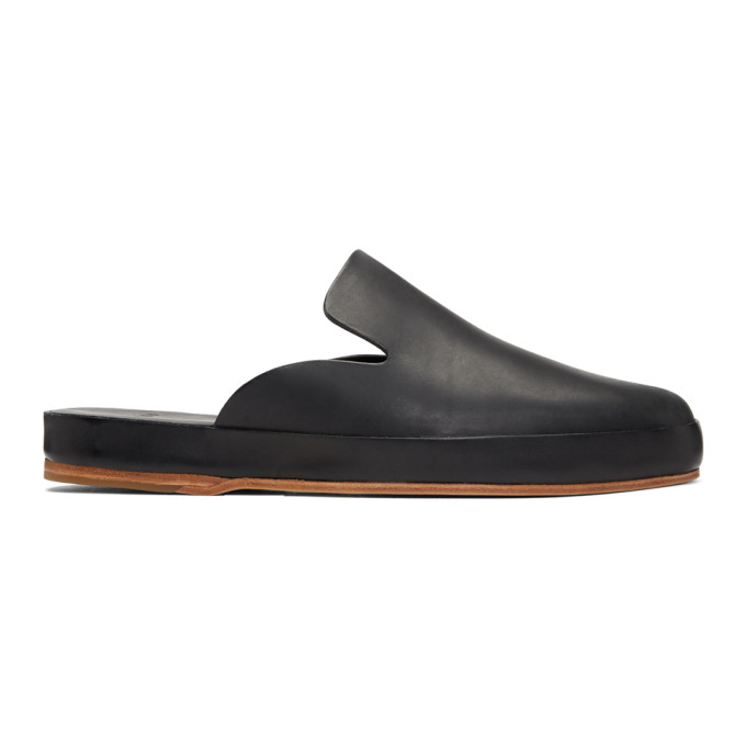 FEIT Feit Black Hand Sewn Slide Loafers