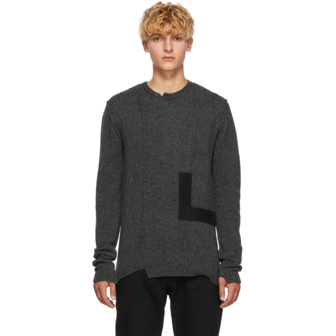 ISABEL BENENATO Panelled Knitted Sweater - Charcoal in 80 Graphite
