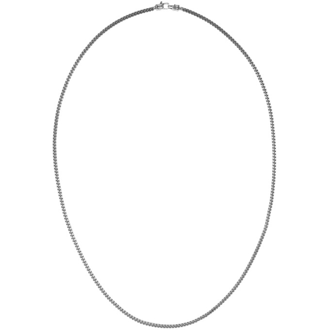 TOM WOOD GUNMETAL MEDIUM CURB CHAIN NECKLACE